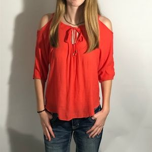 ✅ by&by orange cold shoulder 3/4 sleeve top Sz S